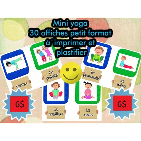 30 affiches petit format yoga pour enfants