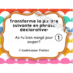 Cartes à tâches - Type de phrases