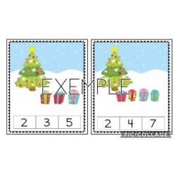 Cartes à pince (nombres de 1 à 20) hiver-Noël