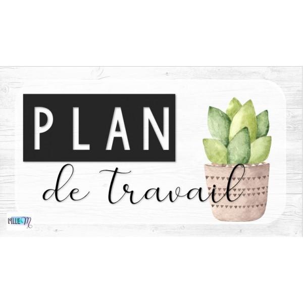 Affiches plan de travail - Bois blanc et cactus