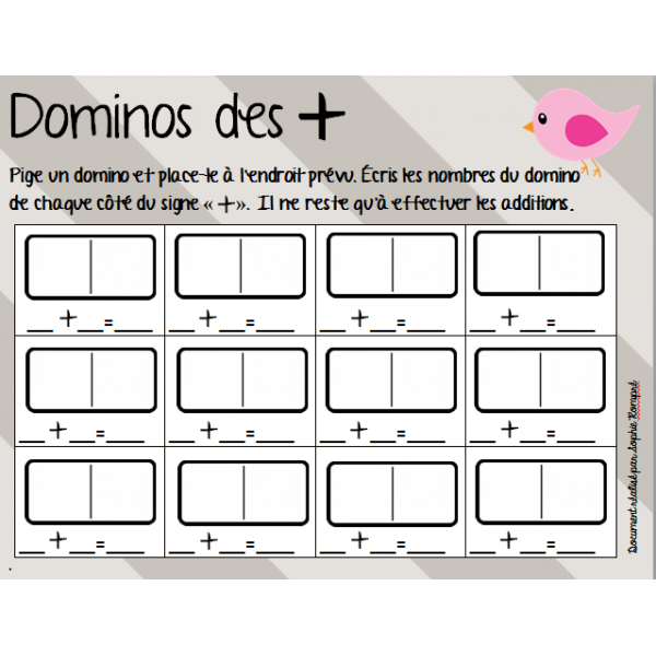 Atelier - dominos des additions