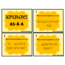 Cartes à tâches - homophones (a-as-à)