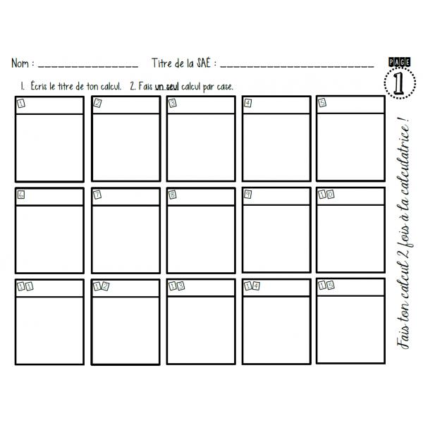 feuille d'organisation pour les calculs