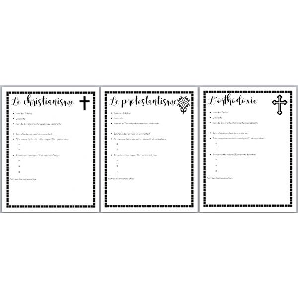 feuilles résumé des religions