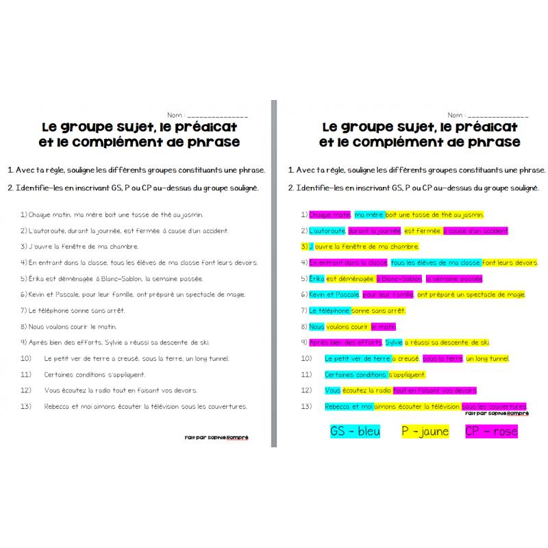 groupe sujet - prédicat - complément de phrase