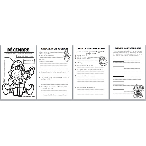 carnet de lecture décembre - revue + journal