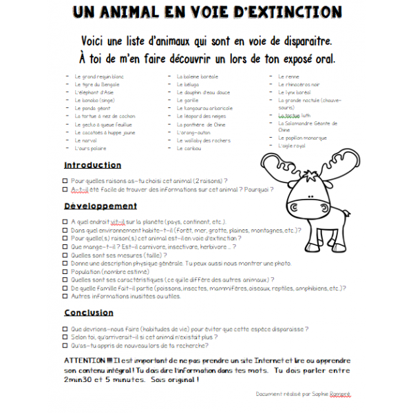 exposé oral - un animal en voie d'extinction