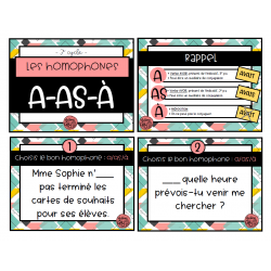 Cartes à tâche - homophones a-as-à