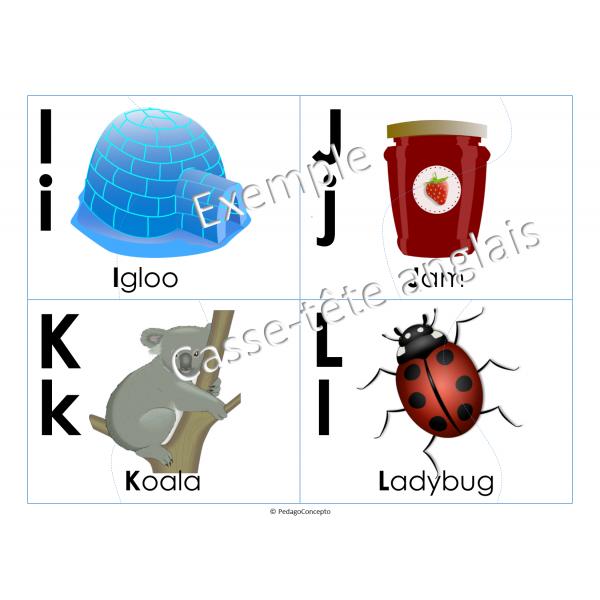 """""""Alphabet en images"""" casse-tête anglais"""
