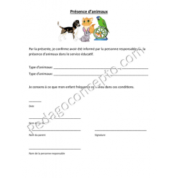 Document Présence d'animaux dans le service