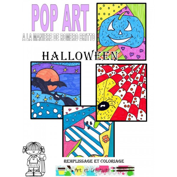POP ART HALLOWEEN-Cartes à colorier