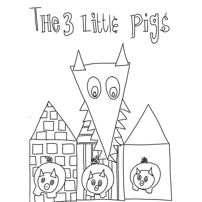 Poster Coloriage Trois Petits Cochons
