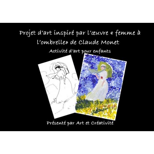 MONET, femme à l'ombrelle, activité d'art