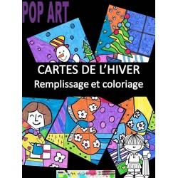 POP ART, CARTES DE NOËL, coloriages