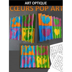 ART OPTIQUE - COEURS POP ART