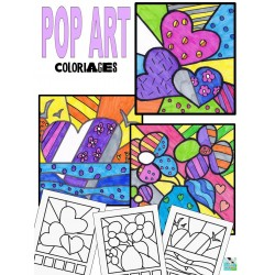 Cartes de coloriages Pop Art
