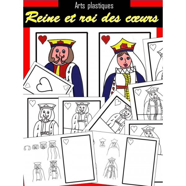 Reine et roi des cœurs -Dessin et coloriage