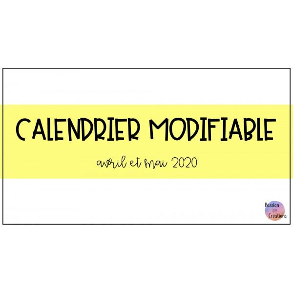 Calendrier modifiable - Covid-19
