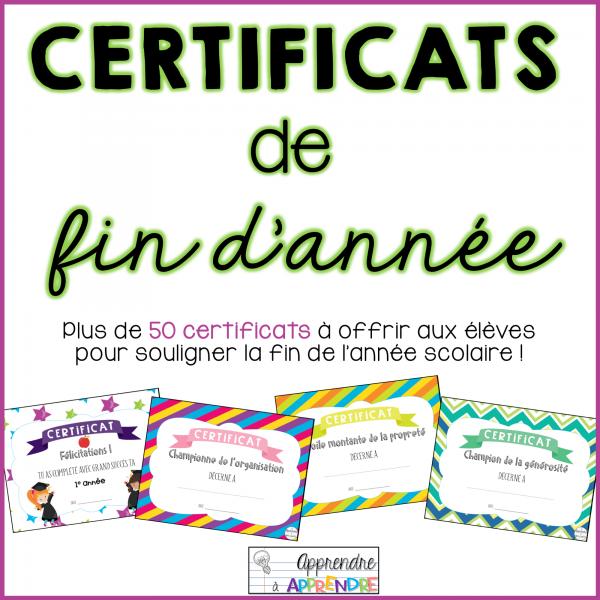 Certificats de fin d'année