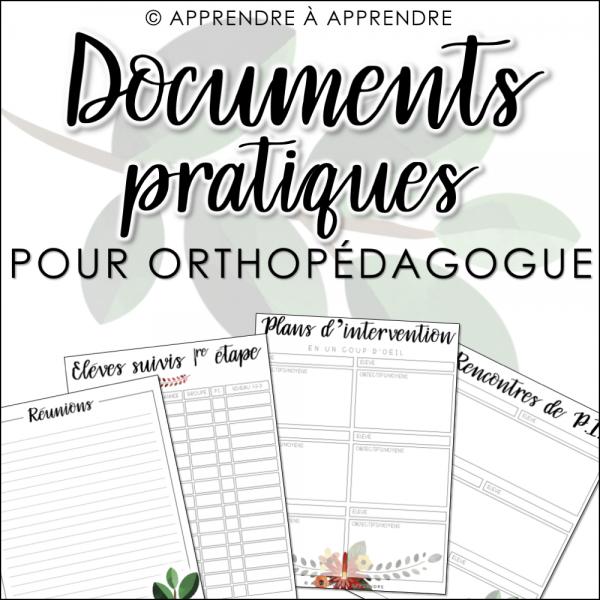 Documents pratiques pour orthopédagogue 2019-2020