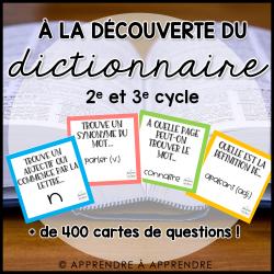 À la découverte du dictionnaire - JEU CLÉ EN MAIN