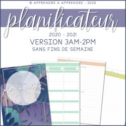 Planificateur 2020-2021 / 3AM-2PM (sans fds)