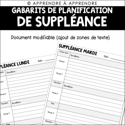Gabarits de planification de suppléance