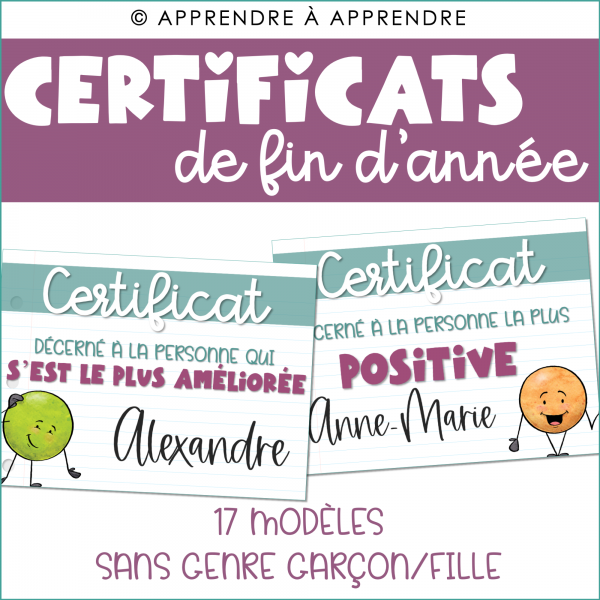 Certificats fin d'année