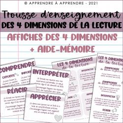 Affiches sur les 4 dimensions de la lecture