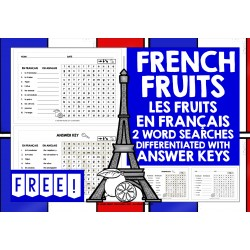 FRANÇAIS FRENCH FRUITS WORD SEARCHES FREEBIE