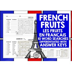FRANÇAIS FRENCH FRUITS WORD SEARCHES