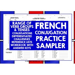 FRANÇAIS FRENCH VERBS CONJUGATION PRACTICE SAMPLER