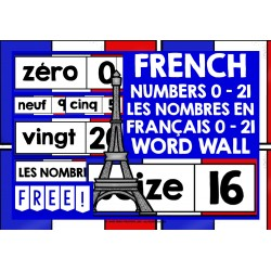 FRENCH NUMBERS 0-21 WORD WALL