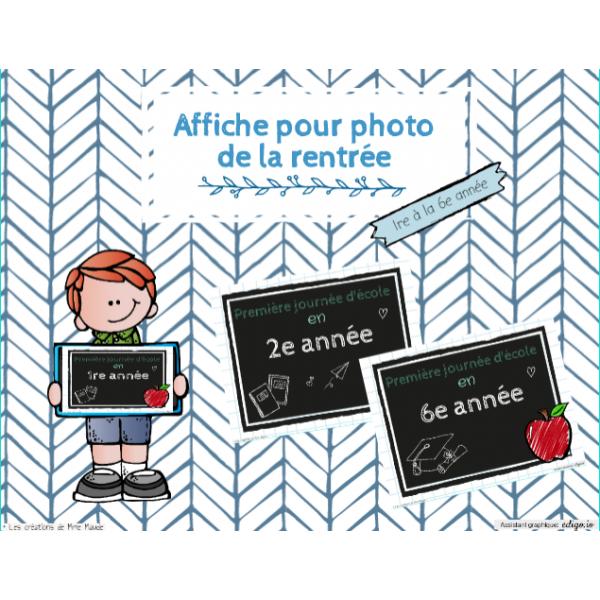 Affiche pour photo de la rentrée scolaire