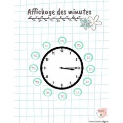 Affichage minutes pour horloge