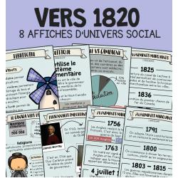 Vers 1820 - 8 affiches d'univers social