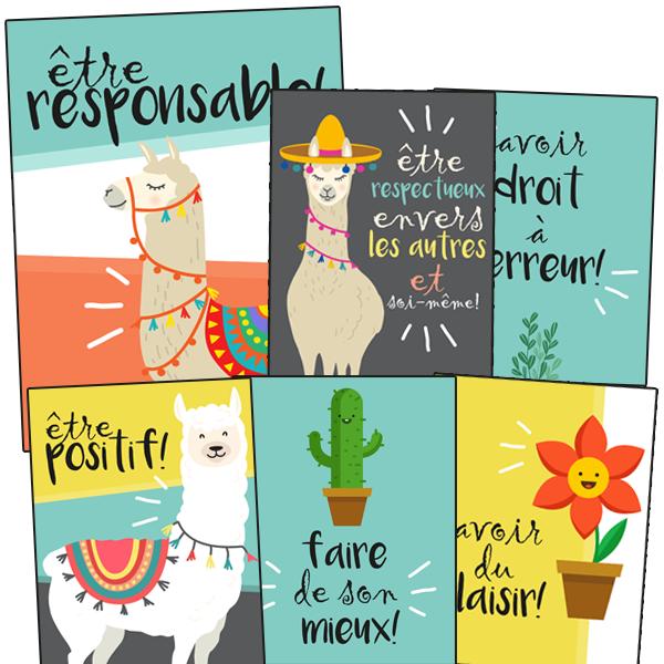 6 affiches des valeurs de classe