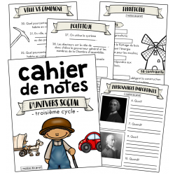 Cahier de notes - univers social - cycle 3