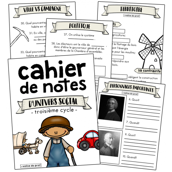 Cahier de notes - univers social - cycle 3