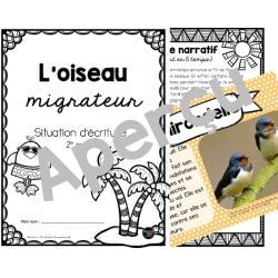 Situation d'écriture sur l'oiseau migrateur