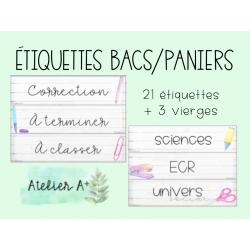 Étiquettes bacs/paniers - école