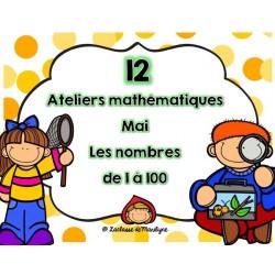 12 ateliers math mai  nbr 1 à 100