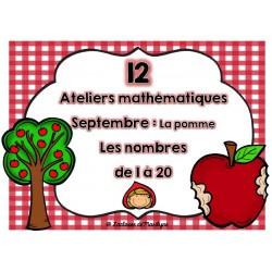 ateliers mathématique La pomme nombres 1 à 20