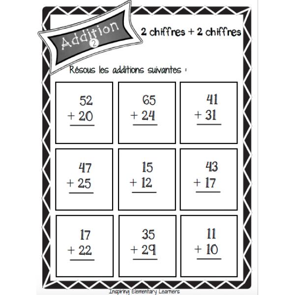 Addition : nombres à deux chiffres