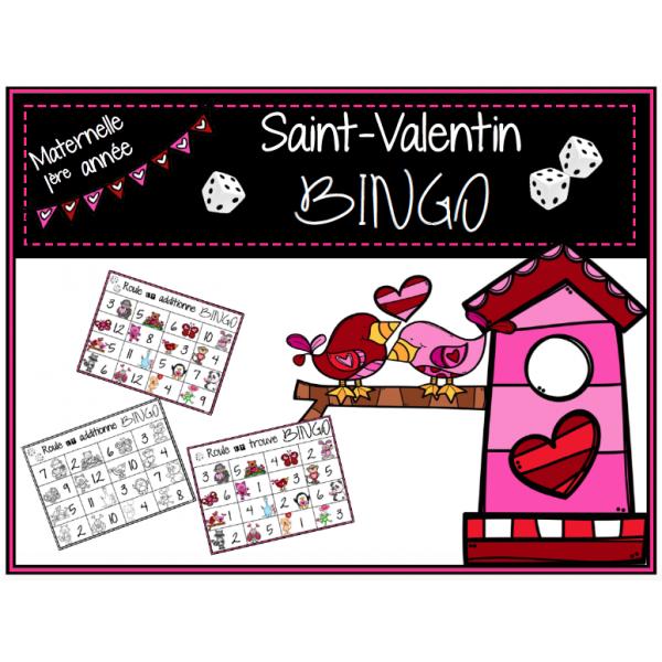 Saint-Valentin - 2 jeux de BINGO / maths M-1ere