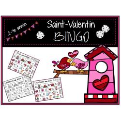 Saint-Valentin - 2 jeux de BINGO / maths 2-4e