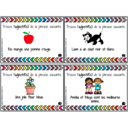 Adjectifs - cartes imprimables + BOOM LEARNING
