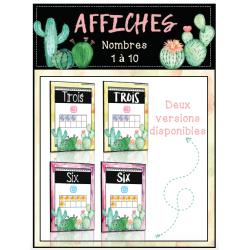 Nombres 1 - 10 - affiches thème cactus