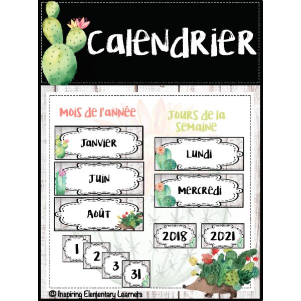 Calendrier - thème cactus