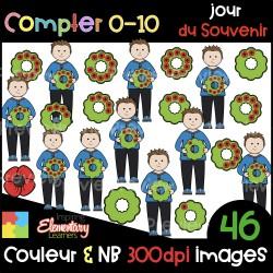 Jour du Souvenir - compter 0-10 - CLIP ART